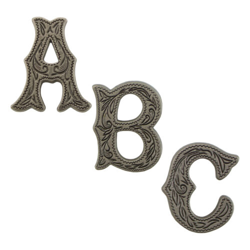 """Springfield Leather Co 3//4/"""" Antique Silver Alphabet Letter Concho A-Z"""