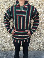 Hoodie Baja,surfer Mexican Poncho Sweater Rasta Color,choose Size Xl,l,m,new