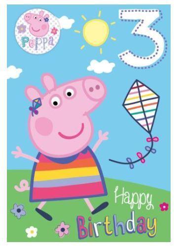 3rd Peppa Pig /& George Girl // Boy includes a badge Birthday Card