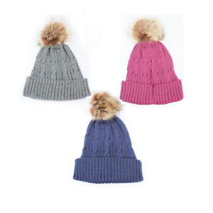 New-Womens-Warm-Wool-Cable-Knitted-Fur-Pom-Beanie-Bobble-Ski-Hat-Winter-Cap