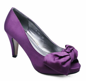 LADIES-PURPLE-SLIP-ON-SATIN-PEEP-TOE-PARTY-BOW-EVENING-PROM-COURT-SHOES-SIZE-3-8