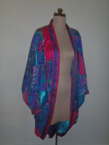 VINTAGE-RETRO-KIMONO-80s-PATCHWORK-SILK-BLEND-LARGE-SLEEVES-UNIQUE