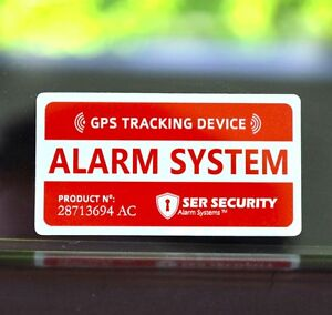 4 car alarm security sticker decal gps tracking device alert window warning. Black Bedroom Furniture Sets. Home Design Ideas