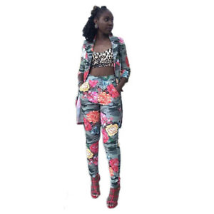 ca8688bf5b Details about Women 3 4 Sleeve Wind Jacket Camouflage Floral Print Long  Pants Suit Casual 2pcs