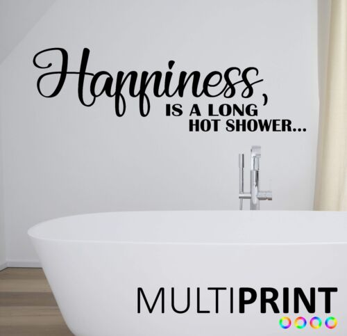 Cuarto De Baño Pared Arte Pegatina Citar felicidad es una larga ducha caliente la etiqueta de la pared BAT1