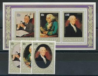 Briefmarken Australien, Ozean. & Antarktis 231481 Cook Inseln 834-6+bl.126** Washington Roosevelt Hochglanzpoliert
