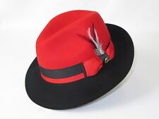 Montique Red Solid Color Pinch Braided Fedora With Matching Satin Ribbon Hat H-3