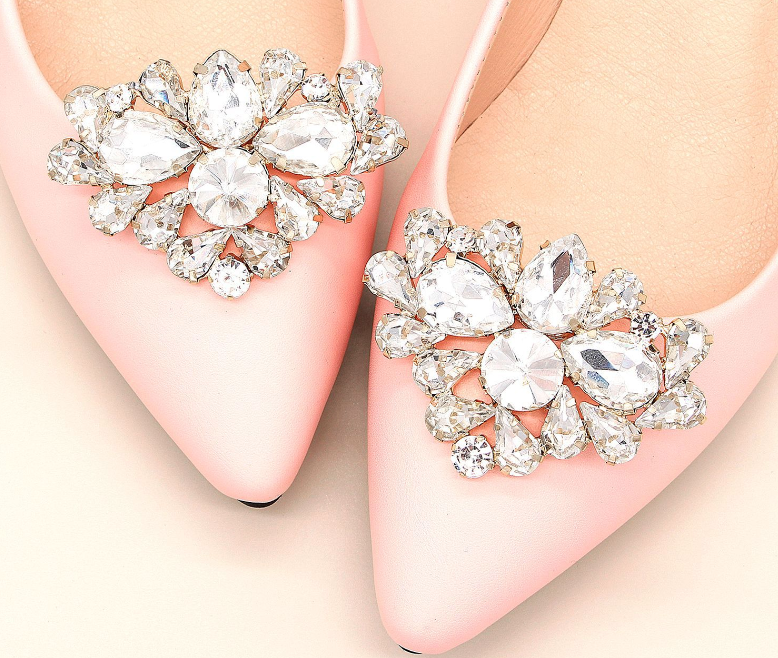 2 Pcs Silver OR Gold Crystal Rectangle Rhinestone Crystal Wedding Shoe Clips
