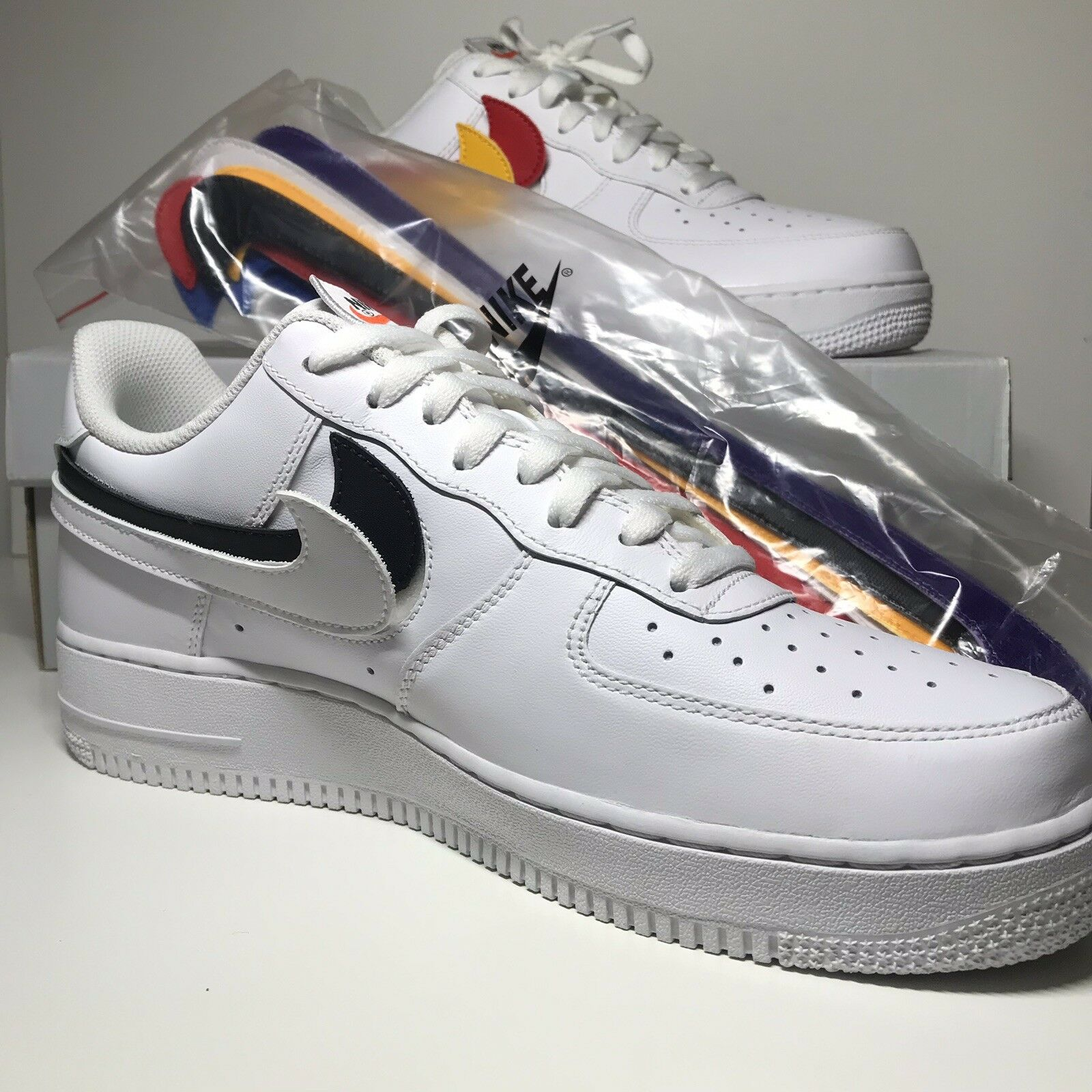 NIKE AIR FORCE 1 '07 QS ALL STAR SWOOSH PACK ALL WHITE AH8462-102 Sz 10 LIMITED