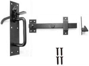 BLACK ANTIQUE IRON SUFFOLK THUMB LATCH Door Gate Catch External Handle 200mm