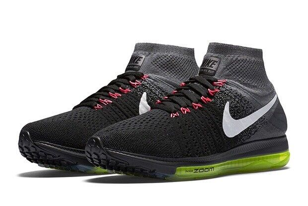 NikeLab Zoom All Out Flyknit UK 9 Euro 44 Black White Grey Volt