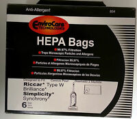 6 Vacuum Bags, Riccar-type W For Brilliance, Simplicity, Synchrony 854