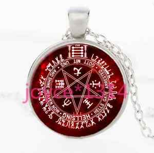 Pentagram-Wiccan-Cabochon-Tibetan-silver-Glass-Chain-Pendant-Necklace-XP-2402
