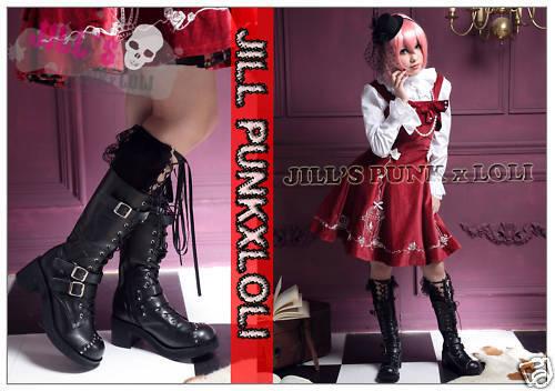 Punk Lolita 15-Trou Bride à Boucle Rivets Bottes 9.5 10 noir 42 2048