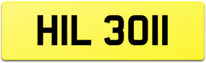 QUALITY SLIM NUMBER 1's DATELESS AGE COVER REG PLATE HIL 3011 HILL HILLY HILTON