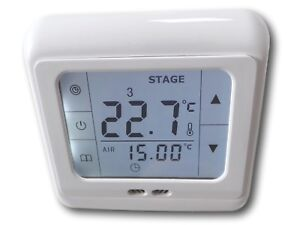 digital thermostat touchscreen raumthermostat fu bodenheizung 832 lcd weiss ebay. Black Bedroom Furniture Sets. Home Design Ideas