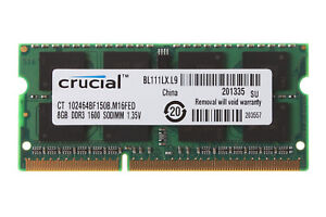 Crucial-8GB-2Rx8-PC3L-12800S-DDR3L-1600Mhz-SODIMM-RAM-Laptop-Memory-Intel-Tested