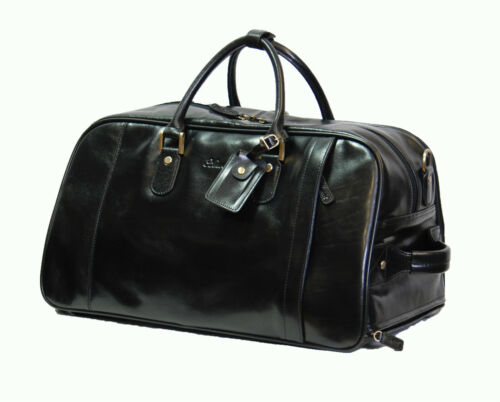 REAL LEATHER Borsone Su Ruote Duffle Palestra Cabina Bagaglio Da Viaggio Weekend Bag Black