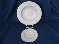 2 Teile Mitterteich Suppenteller + Untertasse weiß Rillen Goldrand Porzellan