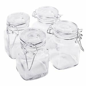 New Square Glass Jar W Hinge Glass Lid 4 Piece Pcs Set Canisters