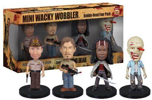 The Walking Dead 8.9cm Mini Wackelnder Wobbler 4 Stück Funko Wackelkopf Rick
