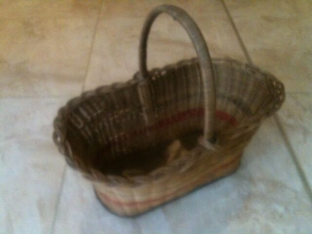SOLID BASED HEAVY CANE CRADLE BASKET 55x31x23cm