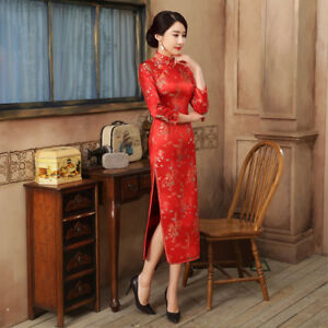 17c01649e Hot Sale New Traditional Womens Red Silk Qipao slim Chinese dress ...