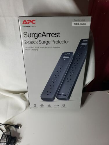 SURGE PROTECTOR BY APC SURGEARREST 6ft Cord 1080 Joules 2pack USB 2.4A