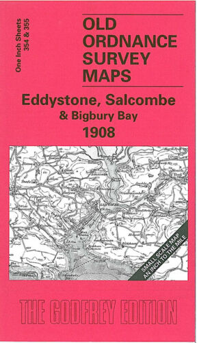 OLD ORDNANCE SURVEY MAP EDDYSTONE SALCOMBE BIGBURY BAY 1908 RINGMORE DEVON