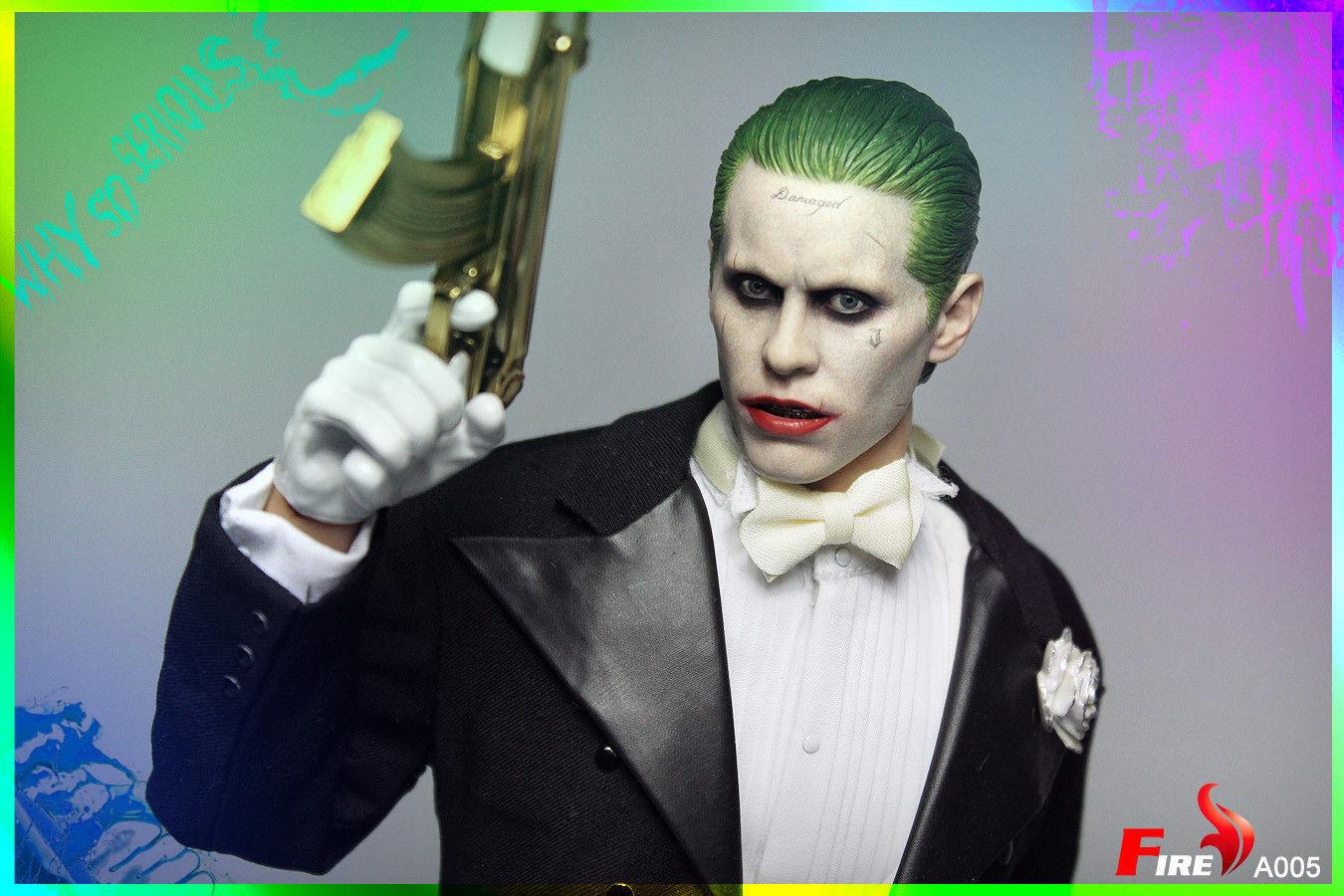 FIRE 1 6 Joker Jared Leto Head Sculpt&Tuxedo Clothes Set A005 F 12'' Male Figure