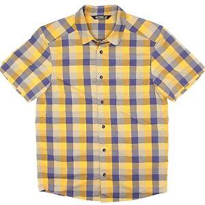Arcteryx-Mens-Shirt-S-Bright-Yellow-Blue-Check-Plaid-Short-Sleeve-Button-Front