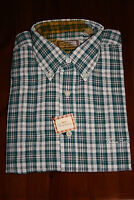 Mens THOMAS BURBERRY Long Sleeve GREEN CHECK SHIRT Button Down Collar SIZE LARGE