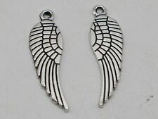 20pcs tibetan silver 2sided Crafted Wing Beads Charms h0467