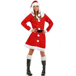 Abito Babbo Natale.Vestito Babbo Natale Donna Mamma Natale Colore Rosso Cappello Con Trecce Ebay