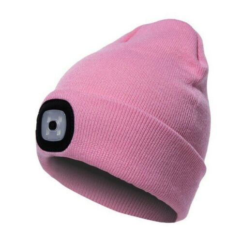 Winter LED Beanie Hat Head Torch Light Cycling Warm Knitted Cap USB Rechargeble