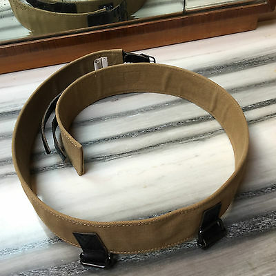 Caritatevole Vintage Diesel Cintura Unisex Cotone & Leather Color Senape & Marrone Made Italy