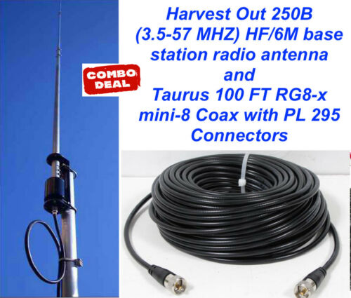 3.5-57 MHZ HF//6M Vertical base w// Taurus100 Ft Coax Cable Harvest Out 250B