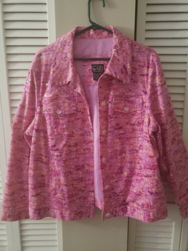 50s Beaded Pink Cardigan Sweater Lambswool Lined size Medium Beaded Pink on Pink witb a Touch of Soft Angora Made for Marshall Fields