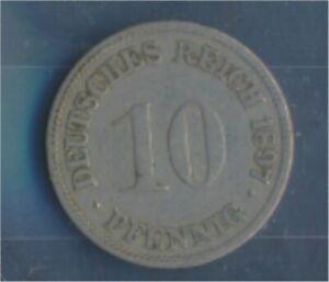 German-Empire-Jagernr-13-1897-G-very-fine-Copper-Nickel-1897-10-Pfennig-7848926