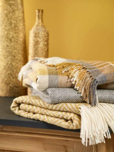 Bronte 100/% merino lambswool blanket throw Melbourne Vienna or Harlequin Gold