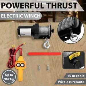 vidaXL 12V Electric Winch Detachable Portable Marine Boat Wire 15m Remote