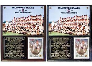 Milwaukee Braves 1957 World Series Champions Photo Card Plaque Aaron-Burdette