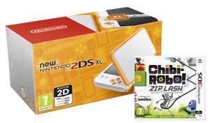 New 2DS XL White Orange with Chibi Robo Zip Lash