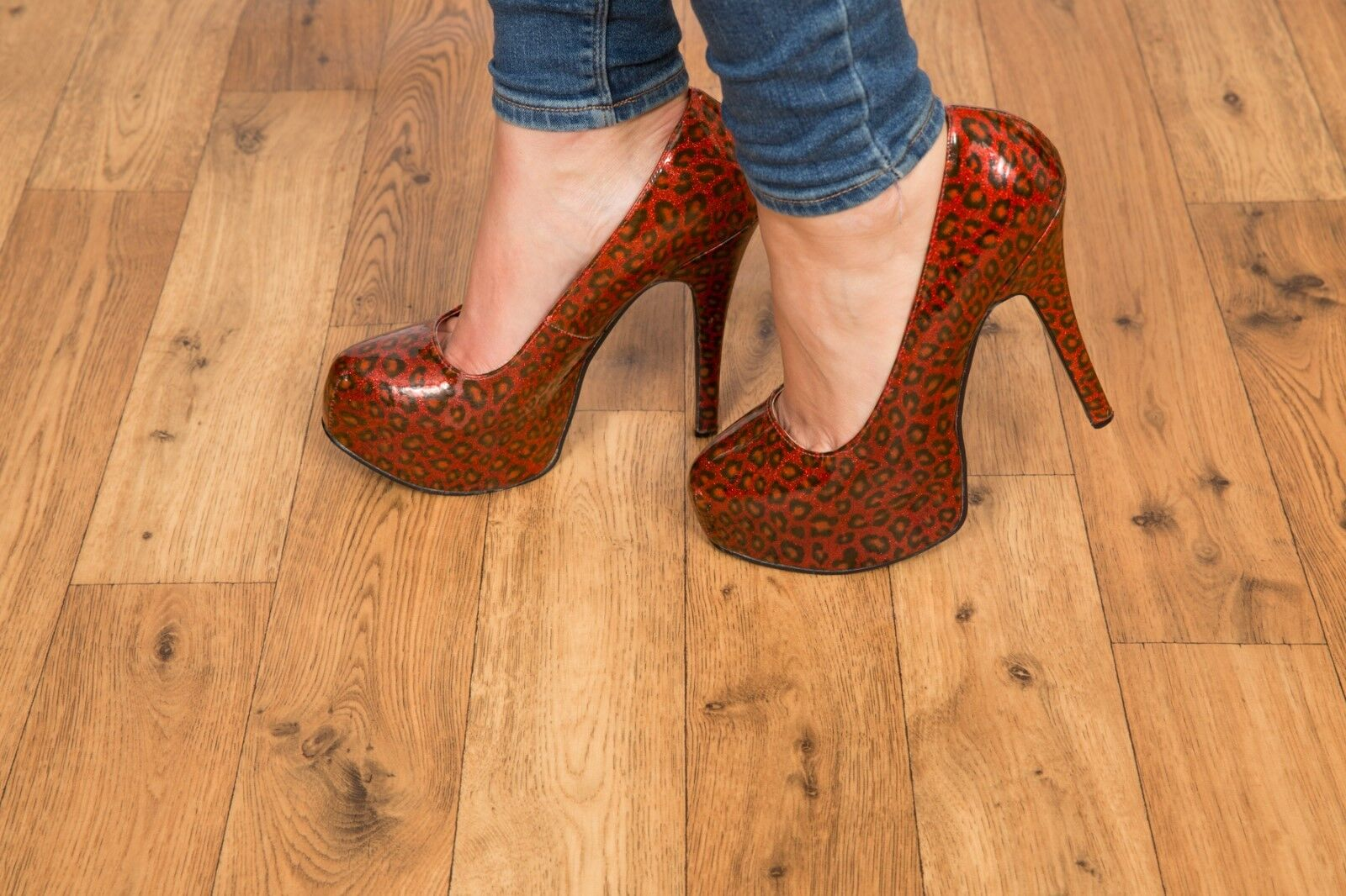 Sexy patent ROT glitter leopardprint Bordello platform heels Teeze 37 Größe 6