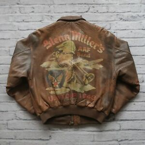 80s-Avirex-Leather-A-2-Flight-Bomber-Jacket-USAF-US-Air-Force-Glen-Millers-Vtg