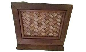 Vintage-Wooden-Planter-wicker-motif-decor-6-5-inches-square