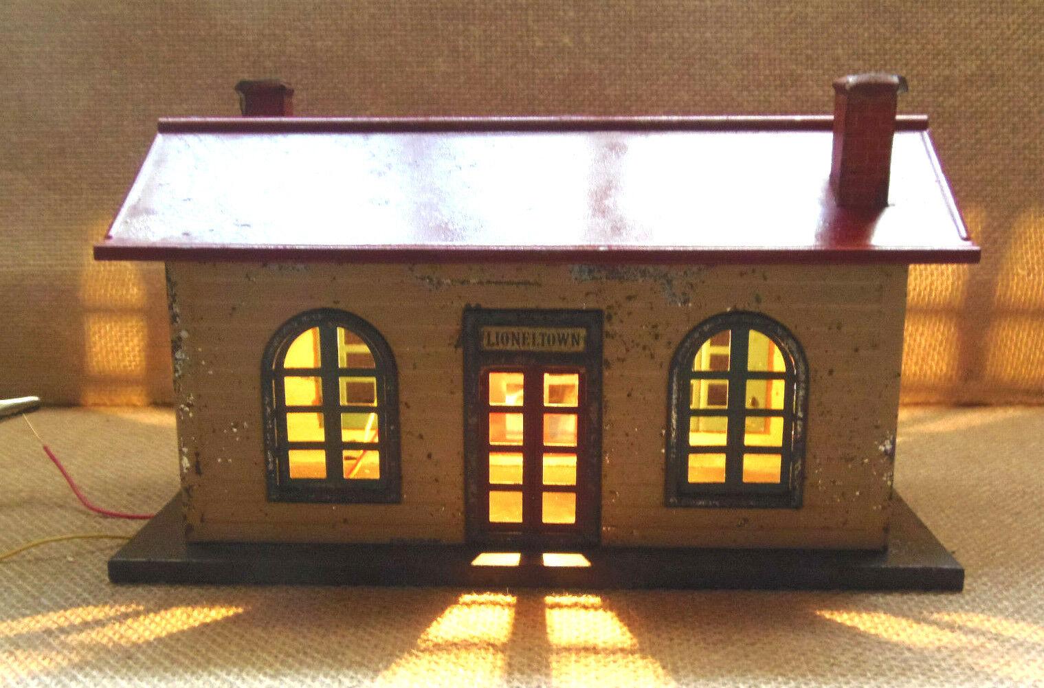 el más barato Preguerra Lionel  127 estación lioneltown lioneltown lioneltown con techo rojo, Iluminado  tienda en linea