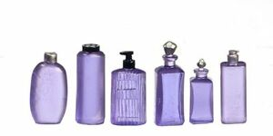 Dollhouse Miniature Assorted Lotion Bottles in Purple by Falcon Miniatures
