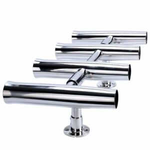 4 Tube Marine Boat Fishing Rocket Launcher Stainless Rod Holders  Rotated 360