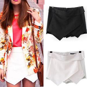 BLOGGERS-FAV-Women-Shorts-Black-White-Wrap-Mini-Skirts-With-Invisible-Zipper-O